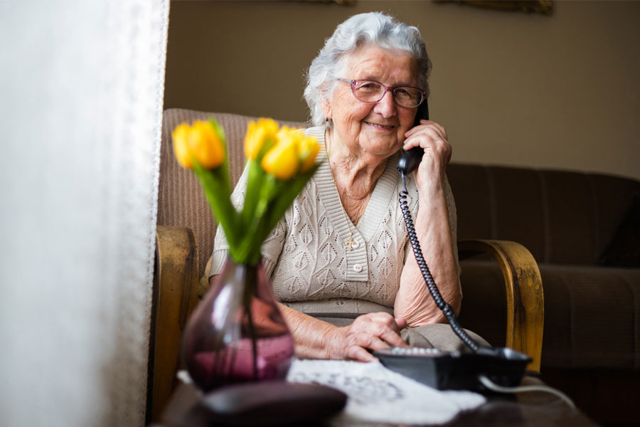Senior citizen talking on phone